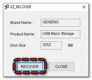 Кнопка recover