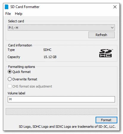 Утилита по форматированию Sd formatter