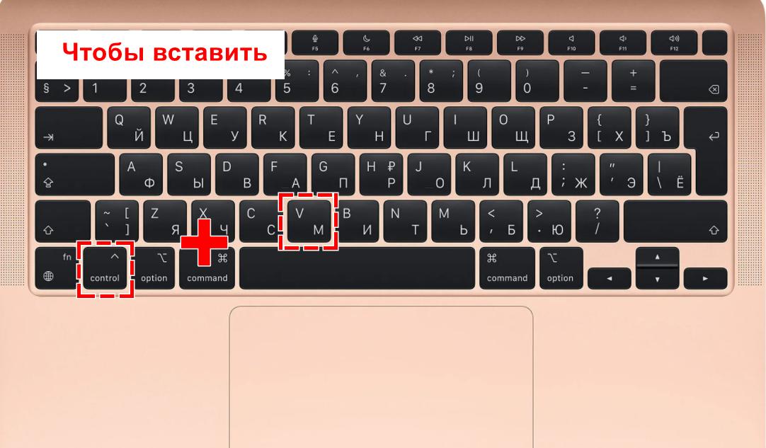 комбинация кнопки на макбуке чтобы вставить